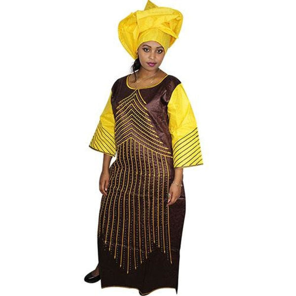 African Bazin Riche Embroidery Design Dress Dresses For Woman Lady Long