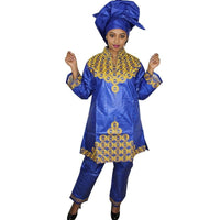 African Bazin Riche Embroidery Design Dress Long Top With Pants And Scarf