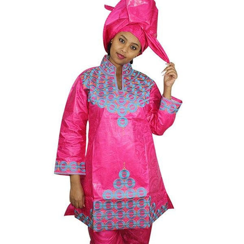 African Bazin Riche Embroidery Design Dress Long Top With Pants And Scarf - Pink / L