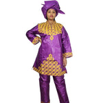 African Bazin Riche Embroidery Design Dress Long Top With Pants And Scarf - Purple / L