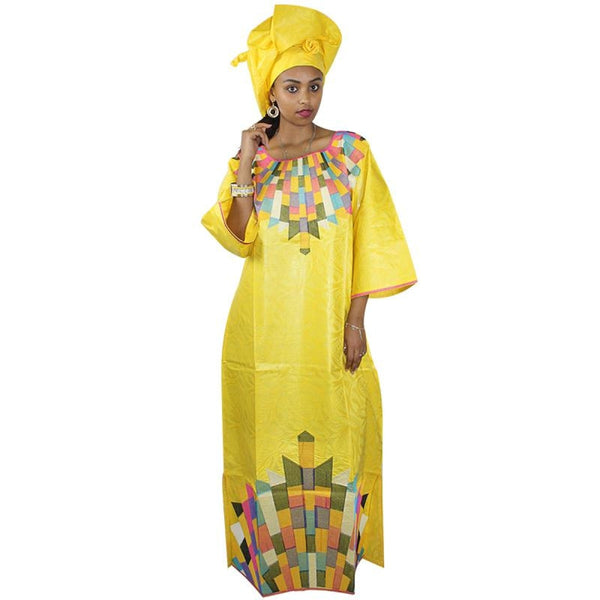 African Bazin Riche Embroidery Design Long Dress With Scarf 100% Cotton One Set Total Two Pcs