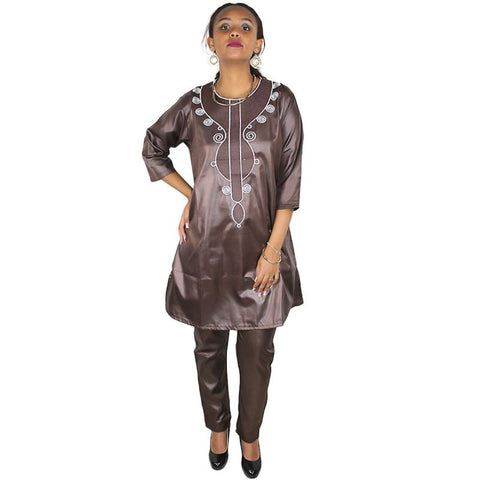 African Clothes For Women New Fashion Bazin Riche Embroidery Shirt Long Sleeves