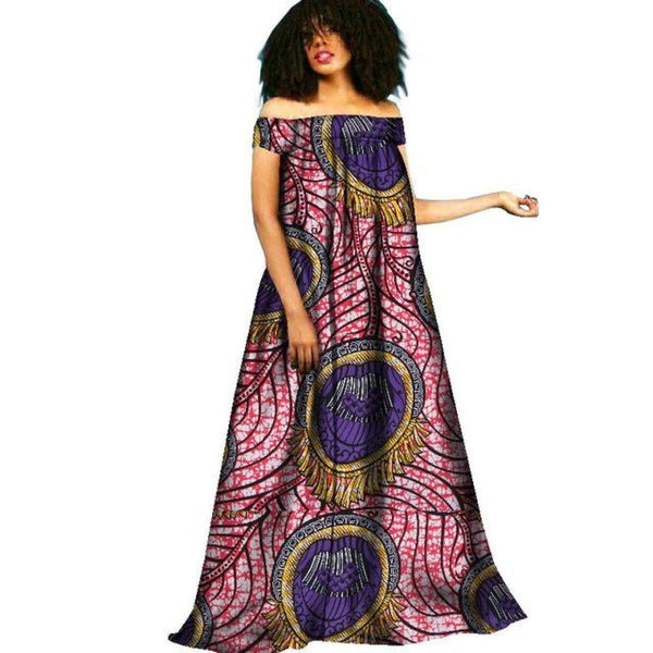 African Clothing Dashiki Bazin Riche Maxi Dress Boho Robe Femme Gown 6 / Us-6 (Asia-M) Style Long