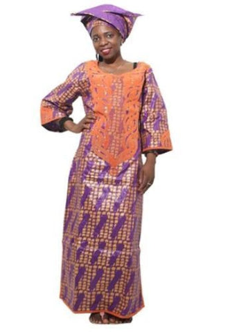 African Clothing Embroidered Bazin Custom Clothing Dashiki Women Design. Many Styles/color - Purple / L