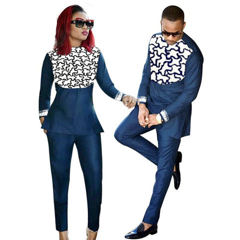 African Couple Embroidered Clothing Top-Pants Set Blue Red Pour Femme V21618