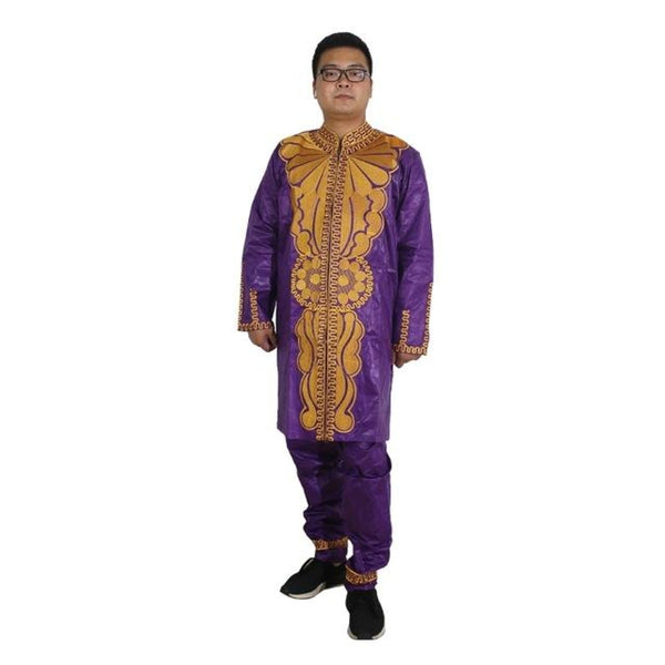 African Clothing Men Dashiki Shirt Two 2 Piece Set Tops Pant Suit Africa Mens Clothes Ropa Africana