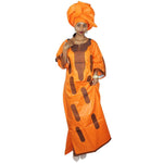 African Dashiki Dresses For Women Bazin Riche Embroidery Design Dress Long With Scarff