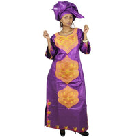 African Dresses Bazin Riche Embroidery Design Dress Two Pcs One Set La063#