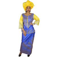 African Dresses Bazin Riche Embroidery Design Top With Rapper Three Pcs One Set Dp159#