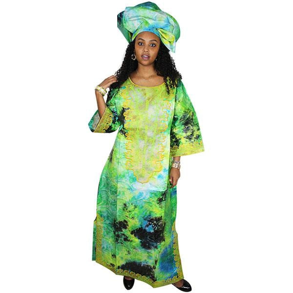 African Dresses For Woman African Bazin Riche Design Embroidery Design Dress Long Dress With Scarf A064# - The Third Green / L