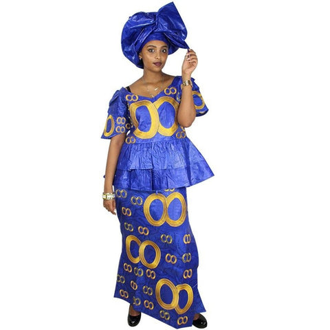 African Dresses For Woman Bazin Riche Embroidery Design Dress Long With Scarf Dp184#