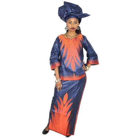 African Dresses For Woman Bazin Riche Embroidery Design Short Rapper With Scarf 3Pcs One Set