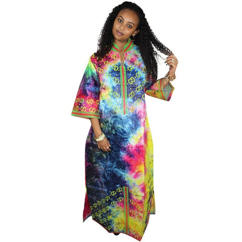 African Dresses For Woman Bazin Riche Embroidery Design Short Rapper With Scarf Bazin Riche A200