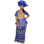 African Dresses For Woman Bazin Riche Embroidery Design Short Rapper With Scarf