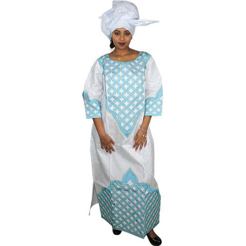African Dresses For Women African Bazin Riche Design Dress Embroidery Design Dress Long Dress With Scarf Two Pcs One Set A048#