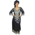 African Dresses For Women Bazin Riche Embroidery Design Dress Long Dress With Scarff - Black / L