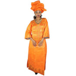 African Dresses For Women Bazin Riche Embroidery Design Dress Long Dress With Scarff - Orange / L