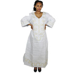 African Dresses For Women Bazin Riche Embroidery Design Dress Long Dress With Scarff - White With White / L