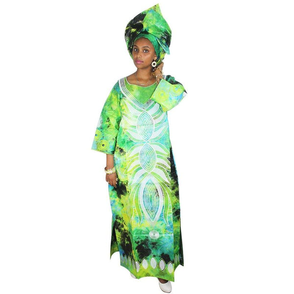 African Dresses For Women Bazin Riche Embroidery Long Dress With Scarf A216
