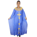 African Dresses For Women African Fashion Design Chiffon Dress With Embroidery Design Dresses Freedom Dress - Blue / L