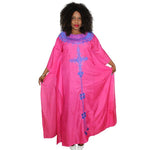 African Dresses For Women African Fashion Design Chiffon Dress With Embroidery Design Dresses Freedom Dress - Pink / L