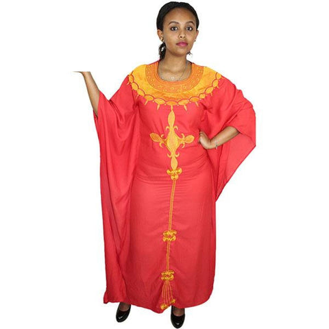 African Dresses For Women African Fashion Design Chiffon Dress With Embroidery Design Dresses Freedom Dress - Red / L