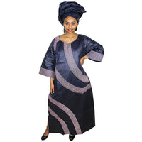 African Dresses For Women Fashion Design New Bazin Embroidery Dress Long With Scarf Two Pcs One Set