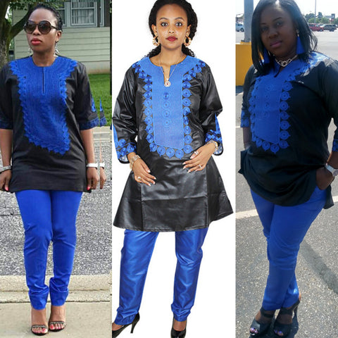 Women Dashiki Soft Fabric Blue Pants Black Top With Blue Embroidery X20670