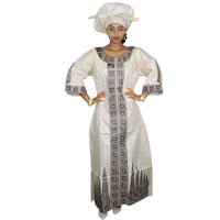 African Fashion Dresses Bazin Riche Material Embroidery Long Dress With Scarf