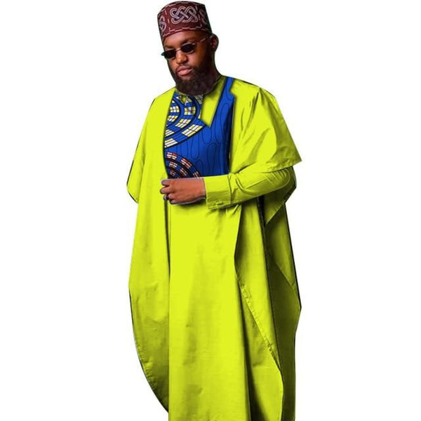 Dashiki Bazin Patchwork African Men Robe Shirt and Hat 4-Piece Y10792