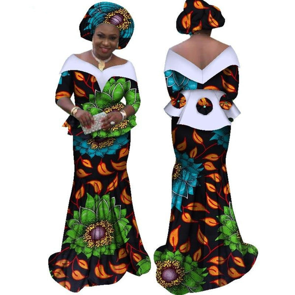 African Dress For Women Half Sleeve Tops + Maxi Dress Party Dashiki Bazin X11436