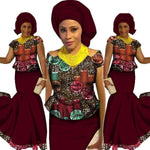 African Style Top and Long Skirt For Women Cotton Print Kitenge Ankara X10993