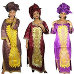 African Clothing Women 100% Cotton Embroidered Bazin Riche Long Dress X21253