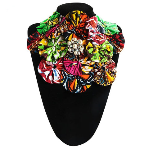 African Necklaces False Tie For Women Vintage Flower Collares Pearl Q11763