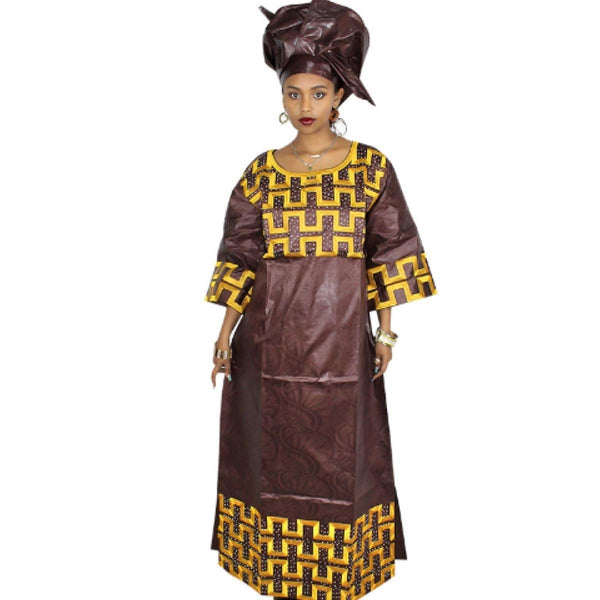 African Clothing For Women Embroidered Bazin Riche Long Dress with Scarf X21249