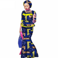 African Clothing 2Pc Top-Skirts Sets with Head Wrap For Women  X11023