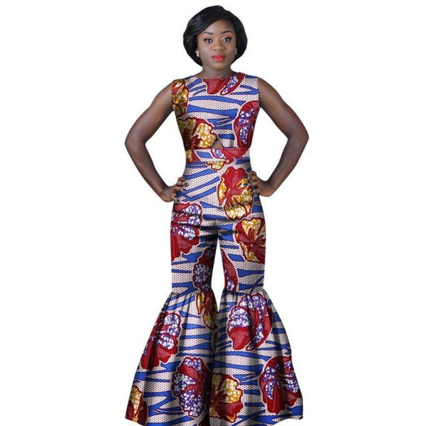 African Print Women Jumpsuit Ruffles O-Neck Sleeveless Sexy Romper Wide X11533