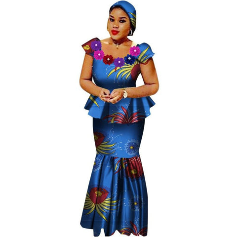 African Dashiki Bazin Dress 2-Piece Top and High Waist Skirt Set  X11008