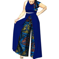 African Clothingtop-Skirt Sets Cotton Wax Print Dress For Women Bazin X11524