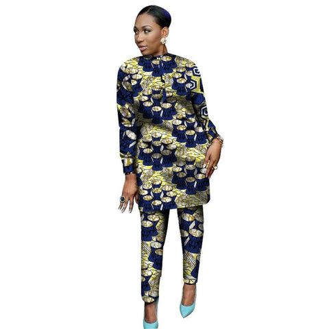 Kitenge Dashiki African Print Women 2-Piece Top with Pants Set Ankara X10681