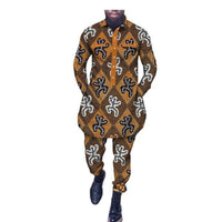 African Men Clothing Dashiki Long Top-Pants Full Sleeve Single Y10833