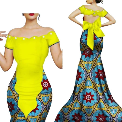 African Style Long Dress Women Cotton Print Kitenge Ankara  X11391