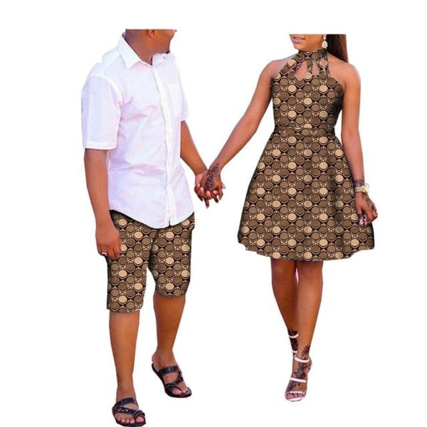 African Clothing Couple and Lovers Man Knee-Length Pants Woman V11681