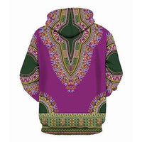 African Dashiki Bazin Print Pullover Hoodie with Angelina 3D-Pattern T00444
