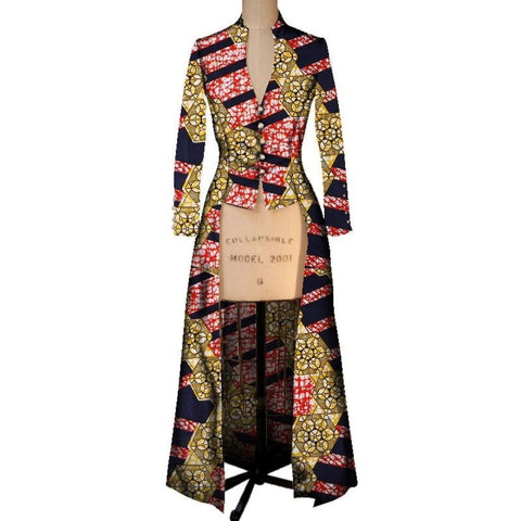 African Wax Dashiki Trench Coat Outwear for Women X10429