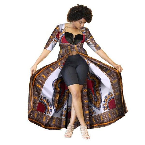Casual Long Trench Coat Women Traditional African Cotton Print Bazin X10390