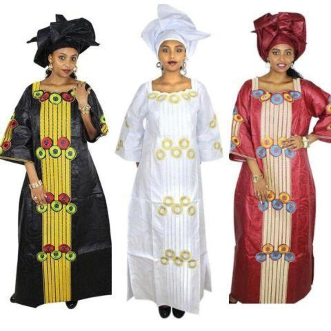 African Women Dresses Dashiki Bazin Embroidery Clothing Long Dress with X21273