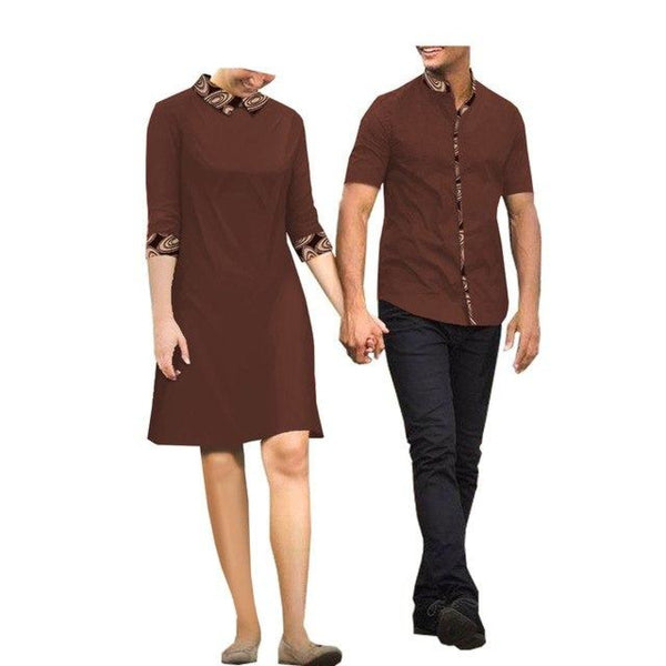 African Clothing Couple and Lovers Woman Mini-Dress Man T-Shirt 100% V11680