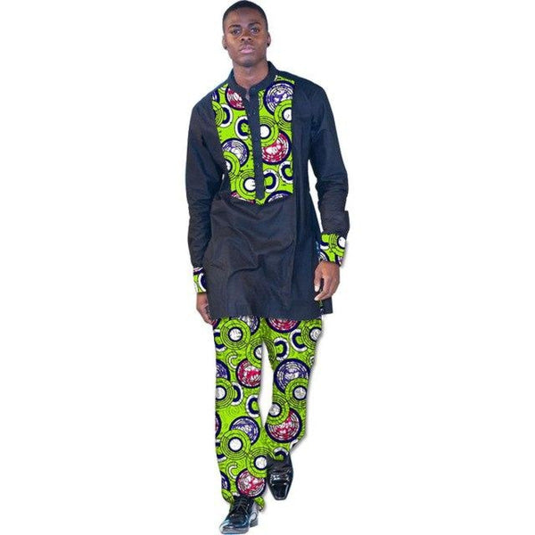 African Clothing Men Long Sleeve Dashiki Wax Print Top-Shirt and Y10816