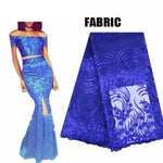 AfricanWomen Vestido Bazin Lace Crop Top and Triangle Hole Mermaid X30913